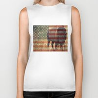 patriotic Biker Tanks featuring Patriotic Bison  by IndigoGallery