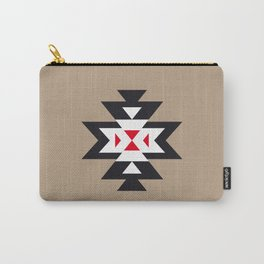 Navajo Aztec Pattern Black White Red on Light Brown Carry-All Pouch