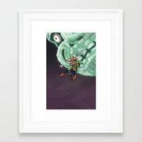 majoras mask Framed Art Prints featuring Skull Kid Majoras Mask by Aaron Pittman