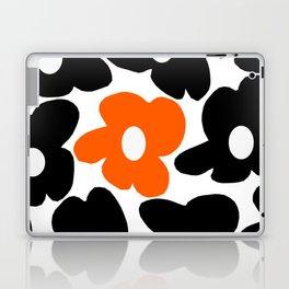 Large Orange and Black Retro Flowers White Background #decor #society6 #buyart Laptop & iPad Skin
