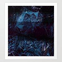 blue space geometry Art Print