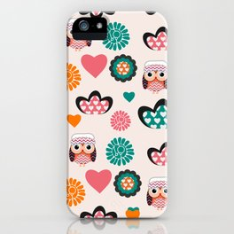 Owls and hearts iPhone Case