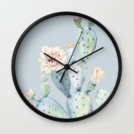 Prettiest Rose Cactus Blue Wall Clock