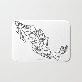Mexico Map Black Outline Bath Mat