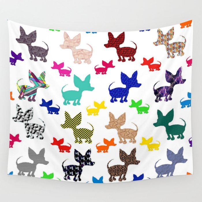 colorful chihuahuas on parade  Wall Tapestry