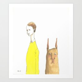 The Man with the Square Rabbit Art Print