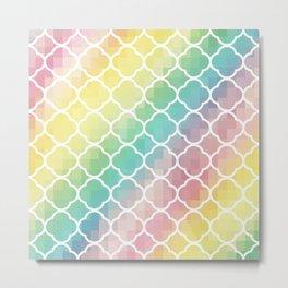 Pastel Pixels Moroccan Quatrefoil Metal Print