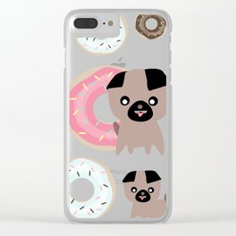 Pug and donuts pink Clear iPhone Case