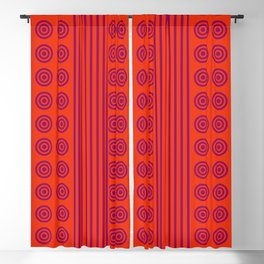 Hot Summer Sunset Red Vertical Stripes & Circles Blackout Curtain