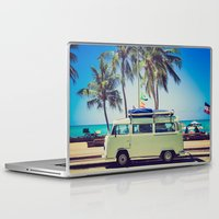 vw bus Laptop & iPad Skins featuring VW Bus Beach Vacation by Limitless Design