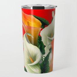 RED & WHITE-ORANGE CALLA LILIES GREY-GOLDEN GARDEN Travel Mug