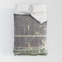 Buenos aires city map engraving Comforters