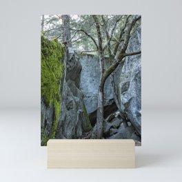 Tree Against Blue Rock Mini Art Print