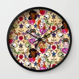 Nautical Tattoos Wall Clock