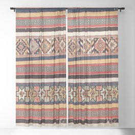 Salé  Antique Morocco North African Flatweave Rug Print Sheer Curtain