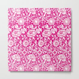 """William Morris Floral Pattern   """"Pink and Rose"""" in Hot Pink and White   Vintage Flower Patterns   Metal Print"""