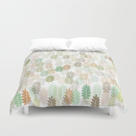 Soft Delicate Colored Leaf Abstract Duvet Cover