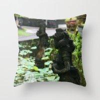 hindu Throw Pillows featuring Bali - Hindu Goddess Statues by gdesai