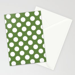 Polka Dots, Spots (Dotted Pattern) - Green White Stationery Cards