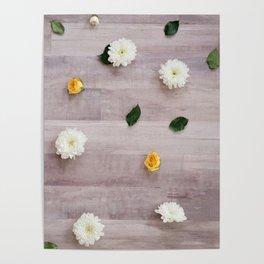 flower tops on wood grain Poster