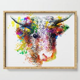 Hand drawn bull, cow, bison, buffalo head face portrait with horns. Colorful cattle painting sketch Serving Tray