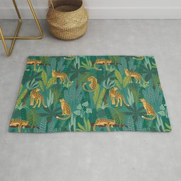 Preppy Tropical Leopard Jungle Scene Rug