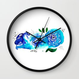 Three Blue Christchurch Roses Wall Clock