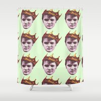 elvis presley Shower Curtains featuring Elvis Presley King by Far-Real