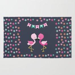 Flamingo love with flowers Rug