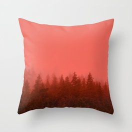 0388 Chocolate Forest with Living_Coral Fog, AK Throw Pillow