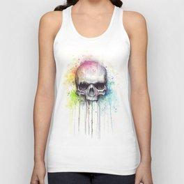 Skull Rainbow Watercolor Unisex Tank Top