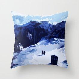 Tardis Art At The Snow Mountain Throw Pillow