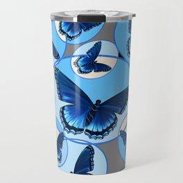 ABSTRACT MODERN ART CIRCLE PATTERNED  BLUE BUTTERFLY FLOCK Travel Mug