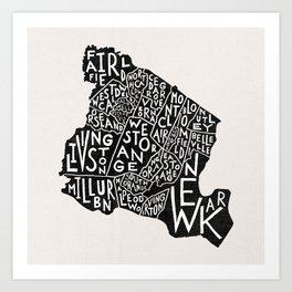 Essex County Map Art Print