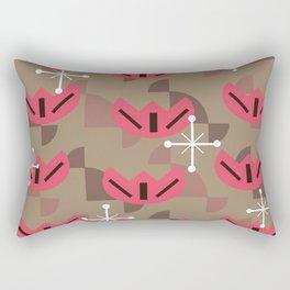 Atomic Era Funky Flowers (Brown) Rectangular Pillow