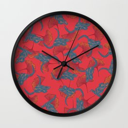 Ginkgo & Skulls (bright orange version) Wall Clock