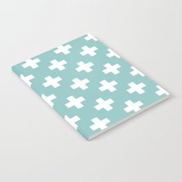 Chalky Blue Plus Sign Pattern Notebook
