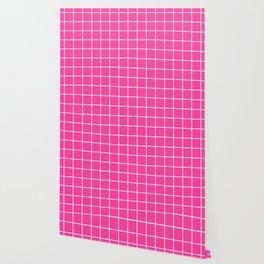 Rose bonbon - pink color -  White Lines Grid Pattern Wallpaper