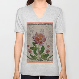SHABBY CHIC CORAL ANTIQUE PINK ROSES Unisex V-Neck