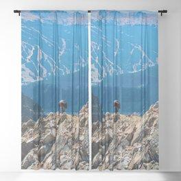 Dog Gone Climbing // High above Copper Mountain Ski Resort in Colorado Landscape Photograph Sheer Curtain