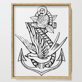 Anchor Swallow & Rose Old School Tattoo Style Serving Tray