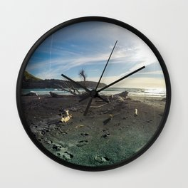 black sandy beach in new zealand wood sunset Wall Clock