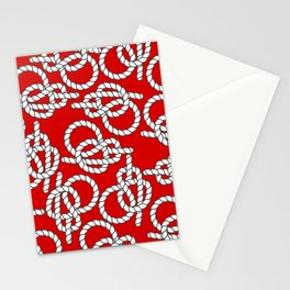 Red Nautical Knots Print Stationery Cards
