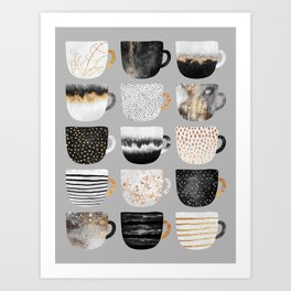Pretty Coffe Cups 3 - Grey Art Print