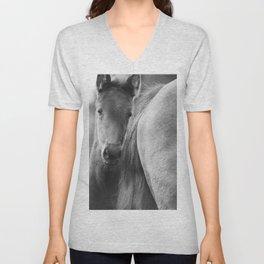 Original horses photo. Black & White, fine art, animal photography, landscape, b&w Unisex V-Neck