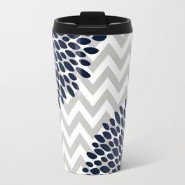 Chevron Floral Modern Navy and Grey Travel Mug