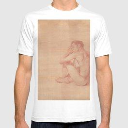 Male Nude Classic Figure Drawing Zen Peaceful Meditation T-shirt