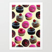 cupcakes Art Prints featuring Cupcakes by Tangerine-Tane