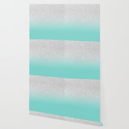 Modern Girly Faux Silver Glitter Ombre Teal Ocean Color Block Wallpaper