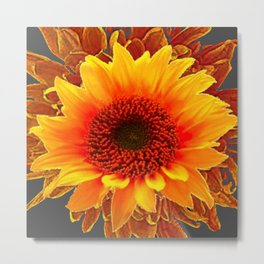 Grey Color & Brown Yellow Sunflower Art Design Metal Print